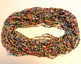 SALE Vintage Early To Mid 1950's Multicolored Czech Glass Christmas Beads Sourced Out Of Africa And Sold By The Strand