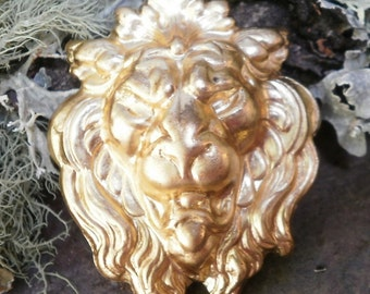 Raw Brass Stamping Lion Head