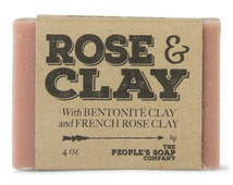 Rose Clay Soap - Thick Lathering Clay Soap - Shea Butter Soap - Moisturizing Soap for Dry Sensitive Skin - Vegan Soap - Best Handmade Soap