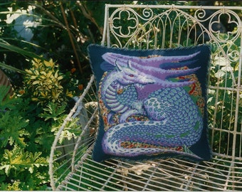 Designer-made Dragon needlepoint cushion/pillow with featured magazine