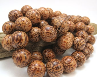 Wood Beads, Palm Wood Beads, 15mm Round Wood Beads, 16 inch Strand, Jewelry Making Supplies, Necklace Beads, Item 875wb