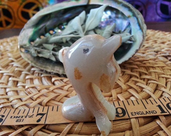 Pakistani Onyx Dolphin ~ One Small Reiki Infused gemstone dolphin approx 2 inches (E03)