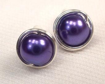 Purple Pearl Post Earrings. Silver Wire Wrapped Post Earrings, Royal Purple Pearl Studs, Purple Bead Ear Studs, Purple Earrings (E238)