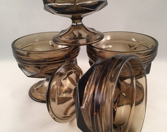 Fairfield Smoke Colored Dessert/Fruit/Drink Footed Bowls/Dishes, Smoke Glassware, Parfait Stemmed Bowls Set of Four
