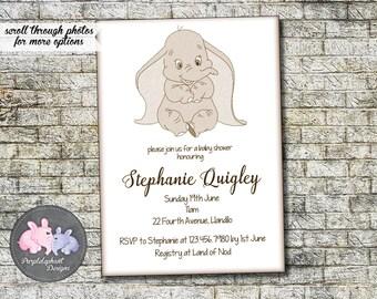 Dumbo Baby Shower Invitation, Classic Dumbo Elephant Shower Invitation Baby  Boy Or Baby Girl Shower