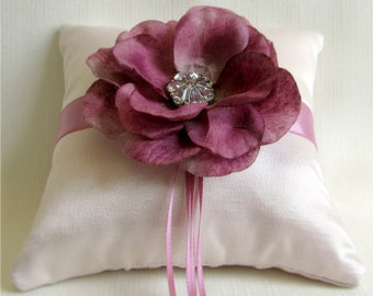 "Mauve Pink Ring Bearer Pillow, Silk Satin, Felt Flower, and Rhinestone Accents, Wedding Ring Cushion, ""Mauve Magic"""