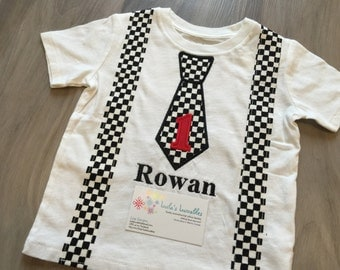 Tie and suspenders birthday shirt, choose any fabric