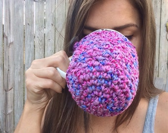 Coaster Cozy- Coffee Cup Cozy- Pick Me Cups Hand-Crotcheted Coffee Cozy - coffee sweater