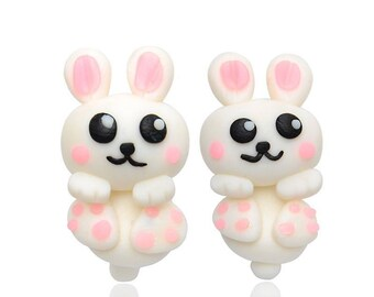 Rabbit Earrings Large Ears Polymer Clay Hand Made 3D Bunny White/Pink