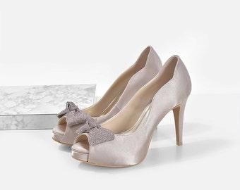 Hazel Dark Champagne Wedding Heels, Dark Champagne Satin Bridal Heels, Satin Dinner Heels