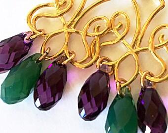 Purple Green Swarovski Gold Chandelier Earring Violet Amethyst Green Palace Opal Swarovski Arabic Ethnic Oriental Byzantine Evening Dramatic