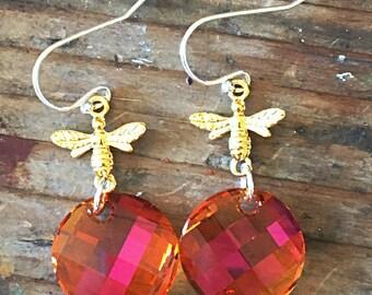 Astral Pink Swarovski Crystal Bee Earring Tangerine Orange Topaz Amber Golden Burnt Orange Sunset Summer Garden Fun Insect Earring Swarovski