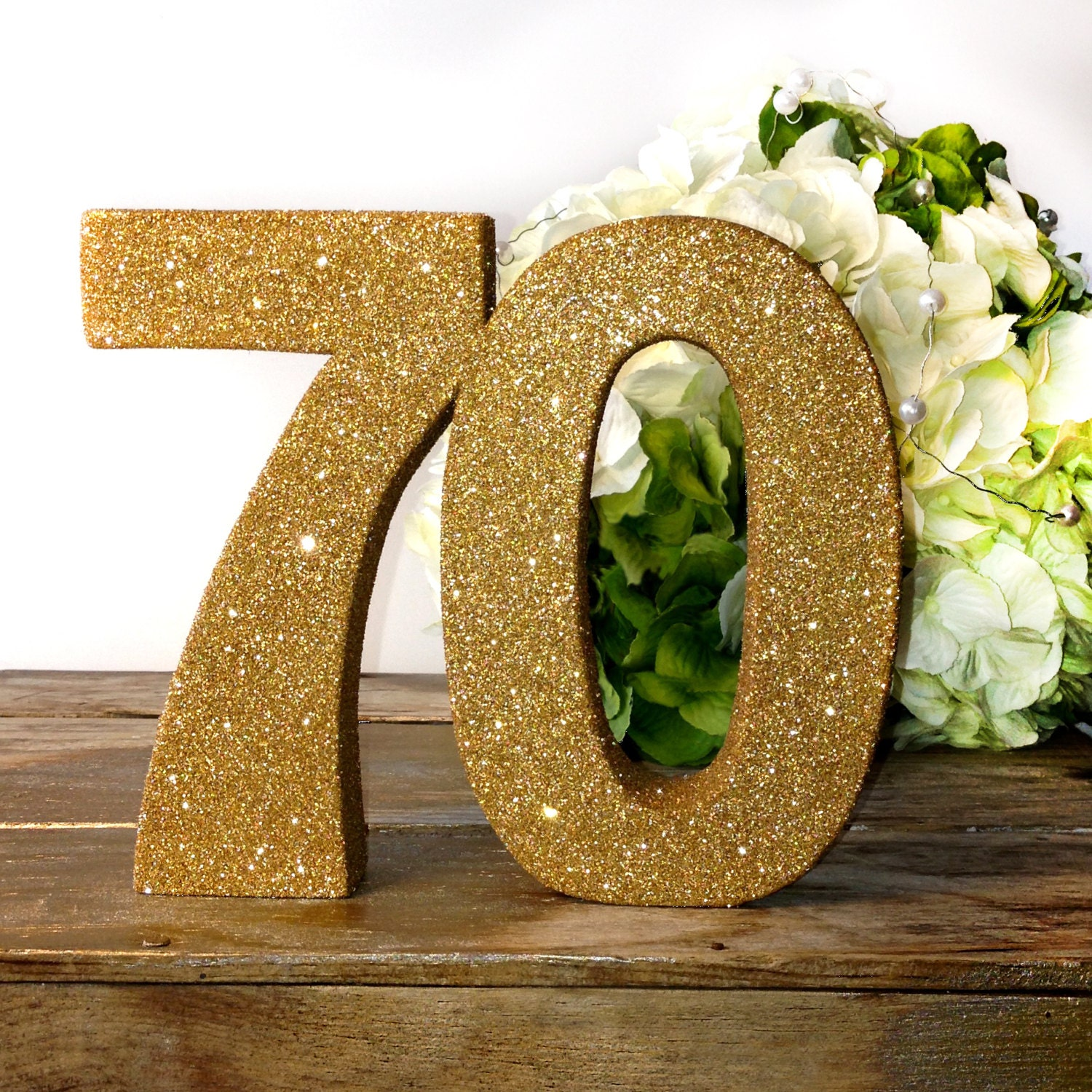 Gold 70th birthday anniversary glitter number birthday party for Glitter numbers for centerpieces