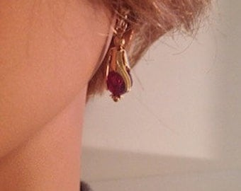 EARRINGS GOLD Plated SWAROVSKI Crystal Red