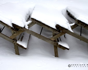 Fine Art Print, Picnic Tables in snow, Minimalistic Decor, Urban Photography, Color.