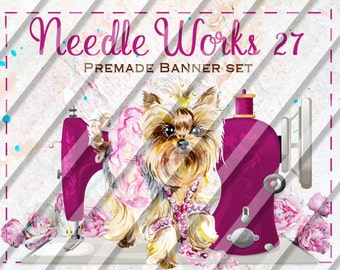 "Etsy Shop Banner Set - Graphic Banners - Branding Set - ""Needle Works 27"""