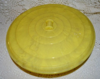 SALE- Vintage Cascade USA Hard Plastic Yellow Sewing Notions Container