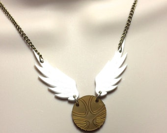 "Harry Potter..laser cut Acrylic winged 'SNITCH"" necklace"