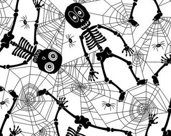 Boo Crew Skeleton Spider Webs Halloween Fabric