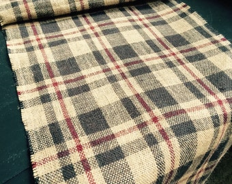 Plaid rustic table runner, black and natural runner, Thanksgiving table runner burlap