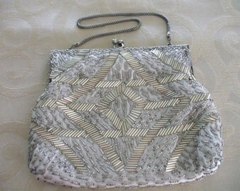 Vintage 1960s Silver Beaded Bag Mister Ernest Handbag Hong Kong Formal Bag Evening Bag
