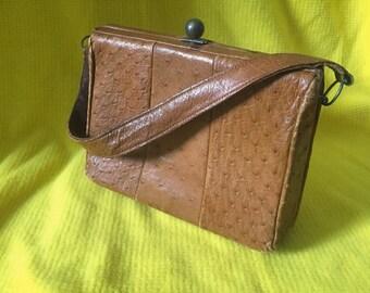 Genuine Mid Centyry Ostrich Purse, Tan Ostritch Leather Handbag, Vintage Ostritch Handbag