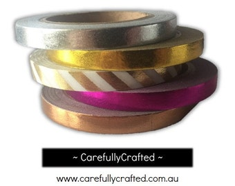 Thin Foil Washi Tape - Set of 5 - Gold, Silver, Pink, Rose Gold Washi Tapes - 5mm x 10 metres each - High Quality Masking Tape