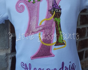 Princess Rapunzel  Birthday Shirt- Custom Girls Birthday Shirt- Princess Shirt- Embroidered- Princess Applique Birthday Shirt- Tangled Shirt