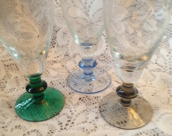 Free Shipping 3 Vintage Champagne Flutes with Colorful Pedestal Stem Glasses
