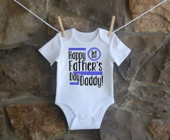 Happy First Father 39 S Day Daddy Onesie Baby Boy By