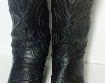 LUCCHESE 2000 Black Leather Cowboy Western Cowboy Boots Men's Size 12 EE