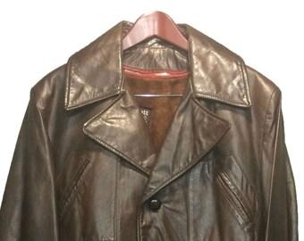 Schott Vintage Brown Leather Trench Coat Men's Size 42