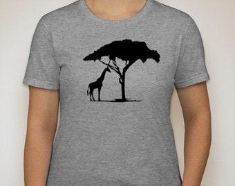 Giraffe Ladies Regular Fitting T-shirt Design shirt Sm-2Xl