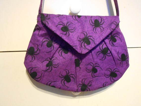 Purple And Black Spiders And Web Fabric Purse/ Shoulder Bag Halloween