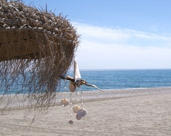 Driftwood Sailboat Shells Nautical Beach Art, Driftwood Art, Unique Wind Chimes, Sea Life Decor, Cottage Chic, Gift For Sailor, Beach Decor!
