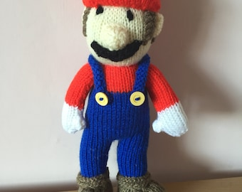 Hand knitted super Mario soft toy