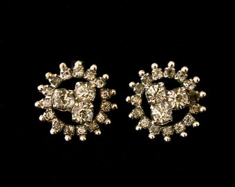 Vintage rhinestone clip-on earrings, 1950's, starbust design, smoke toned, formal, evening.