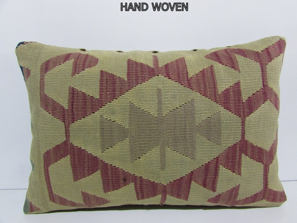 Long Decorative Lumbar Pillow : 16x24 long kilim pillow green throw pillow lumbar decorative