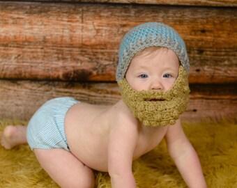 Baby beard hat - Baby Hat with a Beard - Bearded Beanie - Bearded Baby hat - bearded baby - baby photo prop -  hat with beard - baby costume