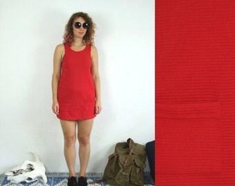 ON SALE 60's vintage women's retro mini red dress