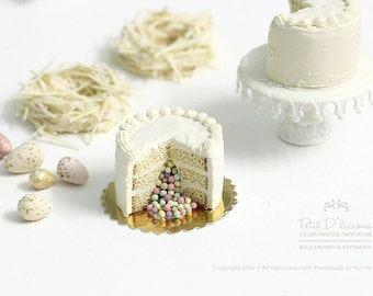 Vanilla Pinata Cake with Hidden Surprise Sweet Pastel Candy Eggs in 1/12th miniature dollhouse Cake