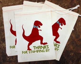 Dinosaur Birthday Party Favor Bags - White Muslin Bag / Thanks for Stomping By / Kids Candy Bag / Toddler Dino Party / Thank You Gift Supply