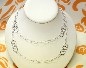 Delicate Geometric Necklace - 100% Sterling Silver,Long Silver Necklace,Gift for Her- Free Shipping.