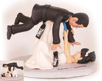 Personalised wedding cake topper - Bride Throwing Groom Over Her Head Jiu Jitsu Wedding Cake Toppers  (Free shipping)