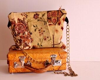Cross Body Clutch Bag, Vintage Upholstery Clutch bag, Handmade Patchwork Cross Body Bag