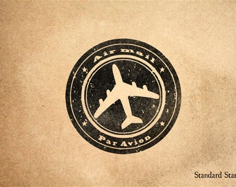 Air Mail Par Avion Rubber Stamp - 2 x 2 inches