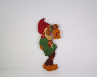 Vintage wooden gnome with lantern wall hanging, fretwork child's wall art, German vintage