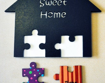 Personalised Painted Jigsaw Pieces Wall Key Holder Wood home sweet home