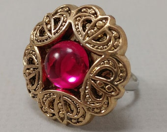 Pink and Gold Button Ring