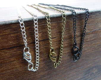 10pcs 50cm 70cm 2.5x3.5mm Chain Necklaces with Lobster Clasps, 3 colors available-  antique bronze, silver, gold